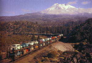 Southern Pacific Railroad Trainload of Trucks Photo